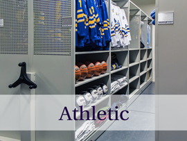 Spacefile's athletic perforated steel shelving