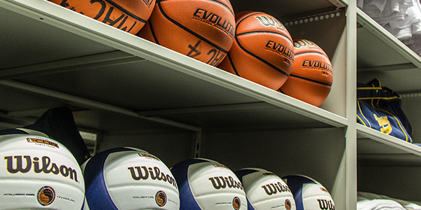 picture of athletic storage, sports storage, basketball storage