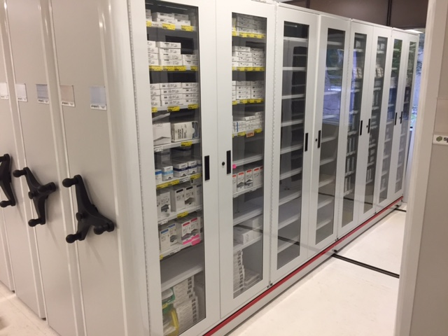photo of high-density mobile storage in a healthcare setting