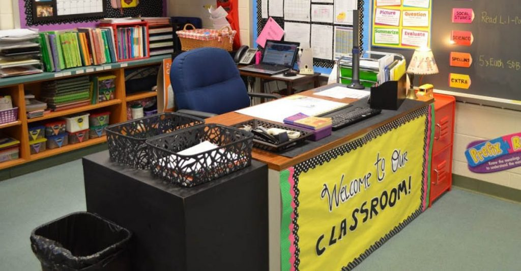 image of teacher's desk