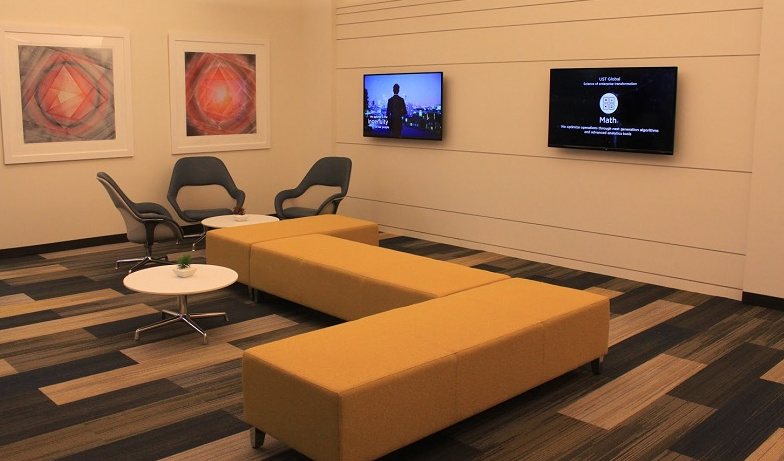 photo of resimercial office with technology upgrades (screens)
