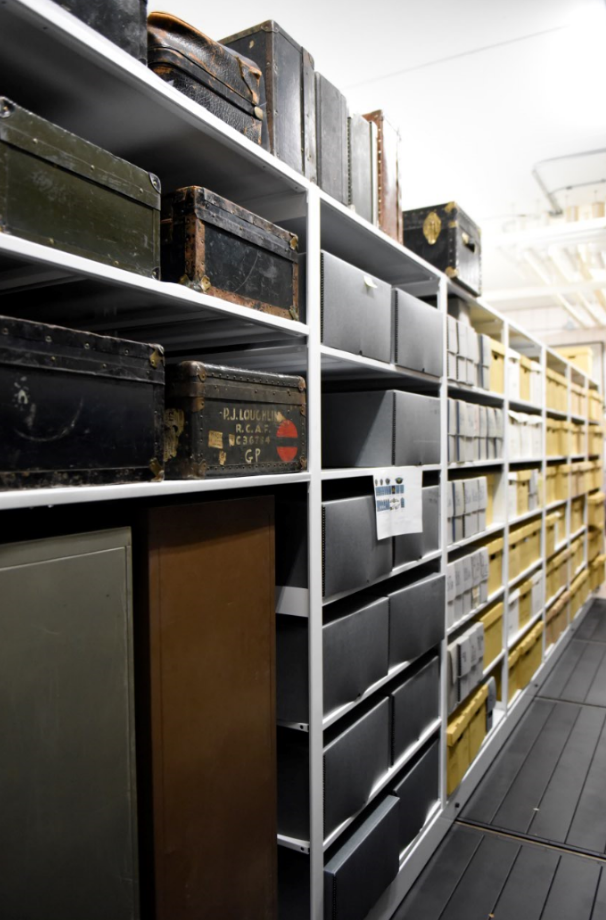 image of artifacts in high-density storage unit at Canadian Warplane museum