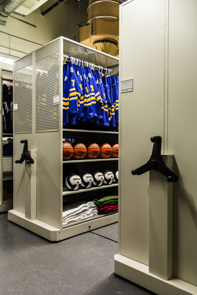 image of high density storage with athletic and sports equipment