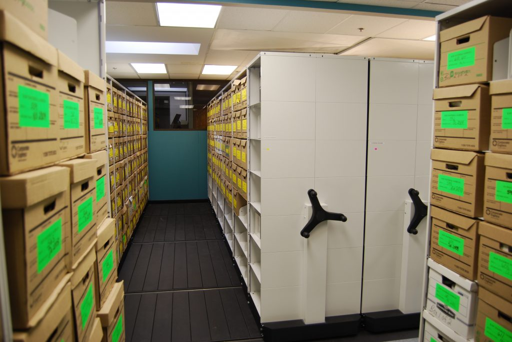 image of high density storage in a pharmaceutical facility